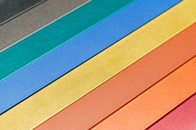 Metal background in rainbow colors.