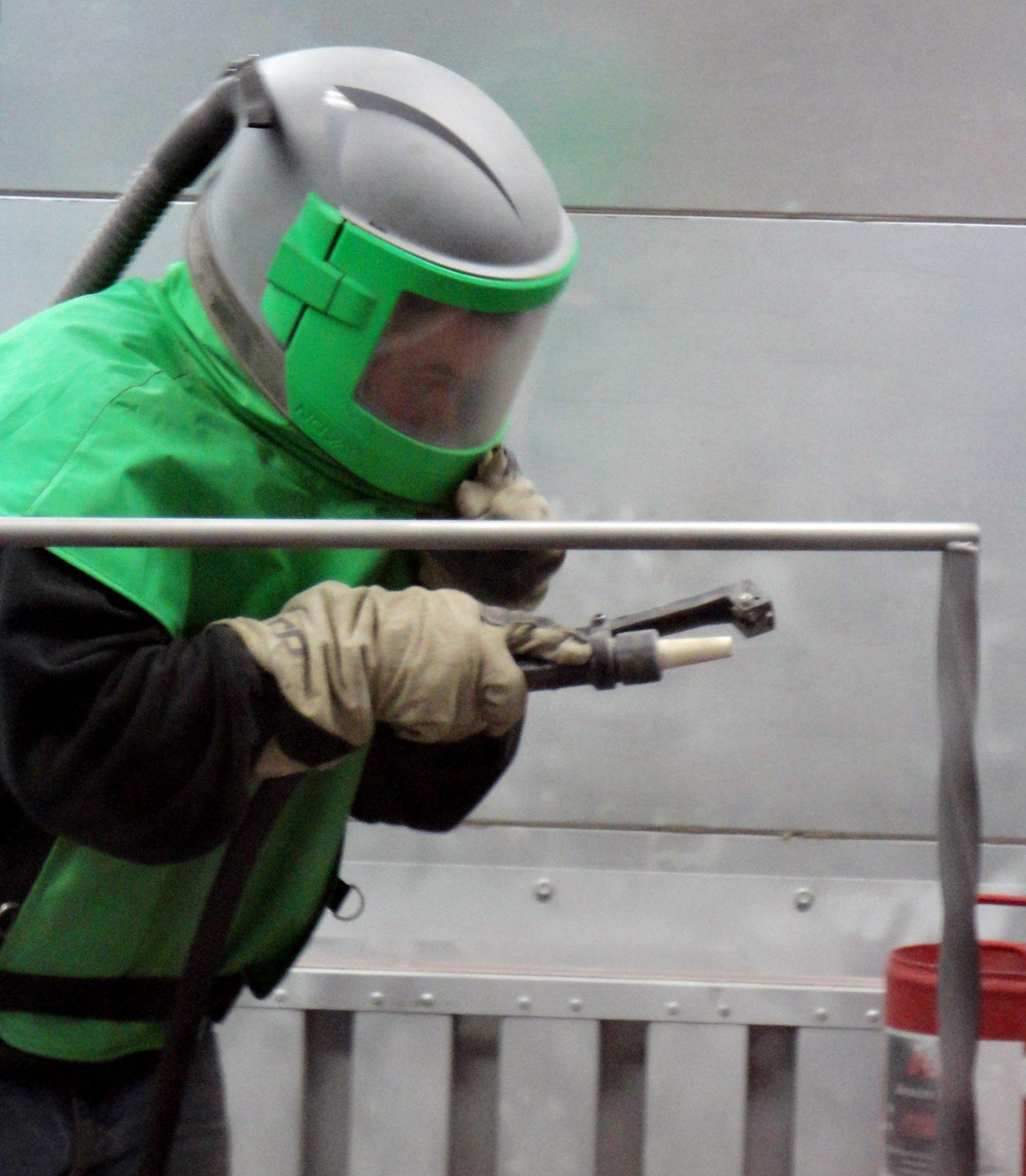 Powder coating blast